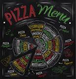 Dibujo del menú de la pizza con tiza del color.