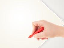 Dibujo del niño con el creyón colorido en el papel en blanco vacío Imagen de archivo libre de regalías