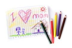 Dibujo del niño de su madre para el día de madre Foto de archivo libre de regalías