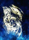 Dibujo del ojo de la mujer en fondo gráfico con el ornamento Efecto del color Fotografía de archivo