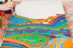 Dibujo del ornamento frío del batik imagen de archivo