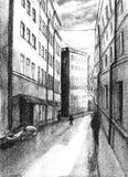 Dibujo del paisaje de la ciudad, decoración, fondo de la acuarela, en tonos oscuros, edificios altos de la ciudad vieja, ventanas stock de ilustración