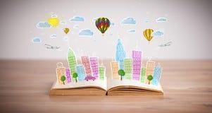 Dibujo del paisaje urbano en el libro abierto stock de ilustración