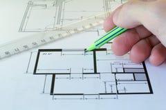 Dibujo del plan de piso fotos de archivo