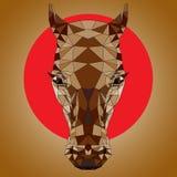 Dibujo del polígono de una cabeza del ` s del caballo Fotos de archivo