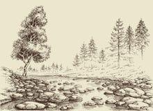 Dibujo del río naturaleza de Tailandia stock de ilustración