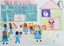 Dibujo del ` s de los niños: los niños con las flores y los bolsos van a la escuela De nuevo a concepto de la escuela Imagen de archivo