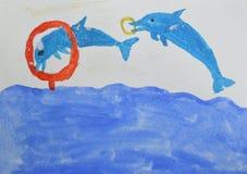 Dibujo del ` s de los niños: el saltar de dos delfínes del agua y a través del anillo Circo en el concepto de la piscina Foto de archivo libre de regalías