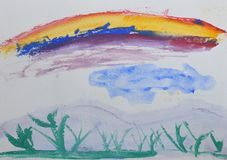 Dibujo del ` s de los niños: hierba verde y arco iris Dibujo en acuarela Imagen de archivo