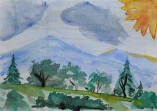 Dibujo del ` s de los niños: montañas, bosque del verano y cielo azul Dibujo en acuarela Fotografía de archivo
