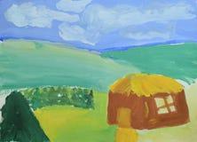 Dibujo del ` s de los niños: pequeña casa, montañas, bosque del verano y cielo azul Dibujo en acuarela Fotografía de archivo libre de regalías