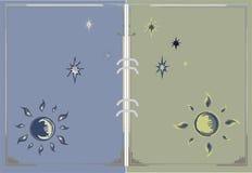 Dibujo del sol, de la luna y de las estrellas para la página del libro ilustración del vector
