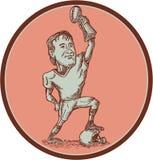 Dibujo del trofeo del campeón del jugador de fútbol americano Foto de archivo libre de regalías