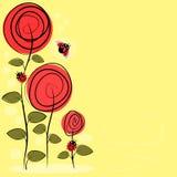 Dibujo del vector con las flores y los insectos Imágenes de archivo libres de regalías
