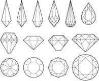 Dibujo del vector de diamantes, de cristales y de piedras preciosas stock de ilustración