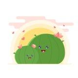 Dibujo del vector de la familia de cactus Cactus lindos madre e hija de la historieta en amor ilustración del vector