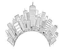 Dibujo del vector de los altos edificios modernos genéricos de la subida alrededor del semi-círculo o del globo