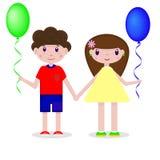 Dibujo del vector de un muchacho y de una muchacha con los globos en un fondo blanco stock de ilustración