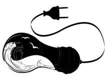 Dibujo del vector de una onda de la tormenta en un bulbo eléctrico El concepto de eco amistoso Exposición doble blanco y negro Di libre illustration