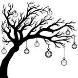 Dibujo del vector del árbol con el reloj Fotografía de archivo