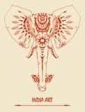 Dibujo del vector del elefante para el diseño del tatuaje y el otro caso Imágenes de archivo libres de regalías