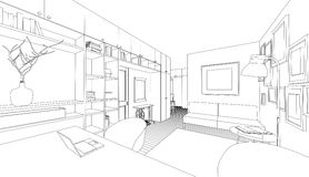 Dibujo del vector del interior stock de ilustración