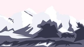 Dibujo del vector del monte Everest, tops de la colina, Nepal stock de ilustración
