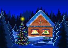 Dibujo del vector del paisaje de la Navidad del invierno Bosque de la nieve del invierno de la noche, adornado con la casa y la d Imagen de archivo libre de regalías