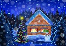 Dibujo del vector del paisaje de la Navidad del invierno Bosque de la nieve del invierno de la noche con los copos de nieve que c Fotografía de archivo