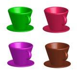 Dibujo del vector, sistema de coloreado de brillante de las tazas de café coloridas con los platillos en el fondo blanco stock de ilustración