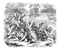 Dibujo del vintage del arco bíblico de Genesis Flood y de Noah que flota en el agua ilustración del vector