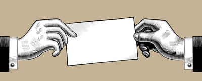 Dibujo del vintage de dos manos con una hoja de papel ilustración del vector