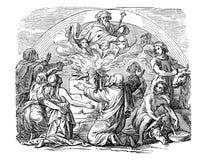 Dibujo del vintage de Noe bíblico y sus de los hijos que sacrifican animales a dios libre illustration