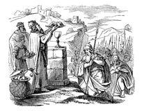 Dibujo del vintage del viejo sacerdote de la reunión del guerrero, historia bíblica sobre Abraham y Melchizedek libre illustration