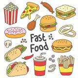 Dibujo dibujado mano de los alimentos de preparación rápida stock de ilustración