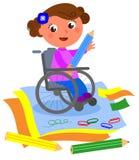 Dibujo discapacitado feliz de la muchacha con el creyón grande Fotografía de archivo