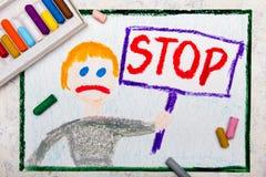 dibujo: El muchacho triste que celebra una PARADA firma adentro su mano ilustración del vector