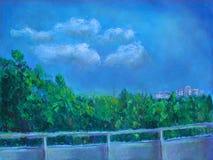 Dibujo en colores pastel de una visión desde un balcón Imagen de archivo