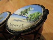 Dibujo en el coco del Océano Índico Imagen de archivo libre de regalías