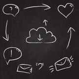 Dibujo en la pizarra: comunicación y ejemplo de la interacción Imagen de archivo