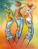 Dibujo en la vida de la gente africana. ilustración del vector