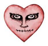 Dibujo enojado del corazón del diablo Fotografía de archivo