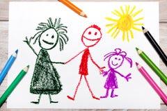 Dibujo: familia feliz Madre, padre e hija foto de archivo