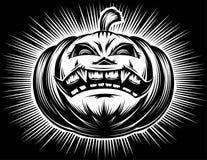 Dibujo fantasmagórico sonriente de la mano del horror del acoso de Halloween de la calabaza Imagenes de archivo