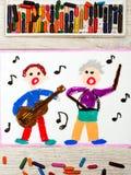 Dibujo: Gente que canta y que toca los instrumentos Fotografía de archivo libre de regalías