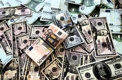 Dibujo gráfico de los dólares y de los euros del dinero fotografía de archivo libre de regalías