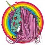 Dibujo gráfico | Unicornio sangriento stock de ilustración