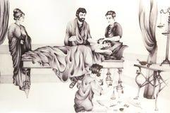 Dibujo histórico de la reconstrucción de la medicina en Roma antigua Foto de archivo libre de regalías