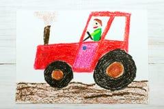 Dibujo: hombre en un tractor rojo Foto de archivo