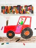 Dibujo: hombre en un tractor rojo Foto de archivo libre de regalías